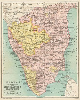 Dravida Nadu - Southern portion of the Madras Presidency in 1909