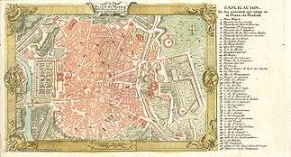 Plano de 1762. La cerca de la época de Felipe IV no había sido traspasada, y no lo fue hasta mediados del siglo XIX