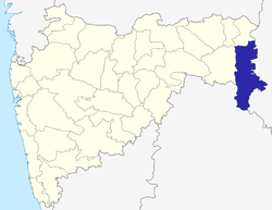 Location of Gadchiroli district in Maharashtra