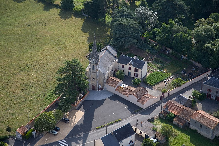 Aerial view of Maisontiers church (France)