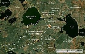 Satellitenbild der kerntechnischen Anlage Majak mit dem Kernkraftwerk Süd-Ural