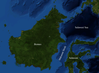 strait between the islands of Borneo and Sulawesi in Indonesia