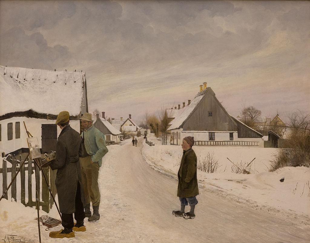 Maleren i landsbyen («Le peintre dans le village»), huile sur toile de Laurits Andersen Ring, peintre symboliste danois.  (définition réelle 4425×3472)