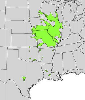 Malus ioensis - Natural range