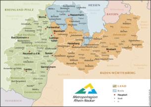 Karte der Gemeinden in der Metropolregion Rhein-Neckar