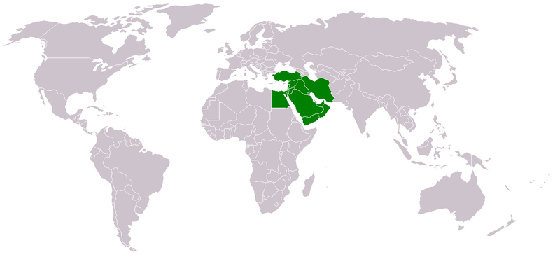World map with the Middle East highlighted in green
