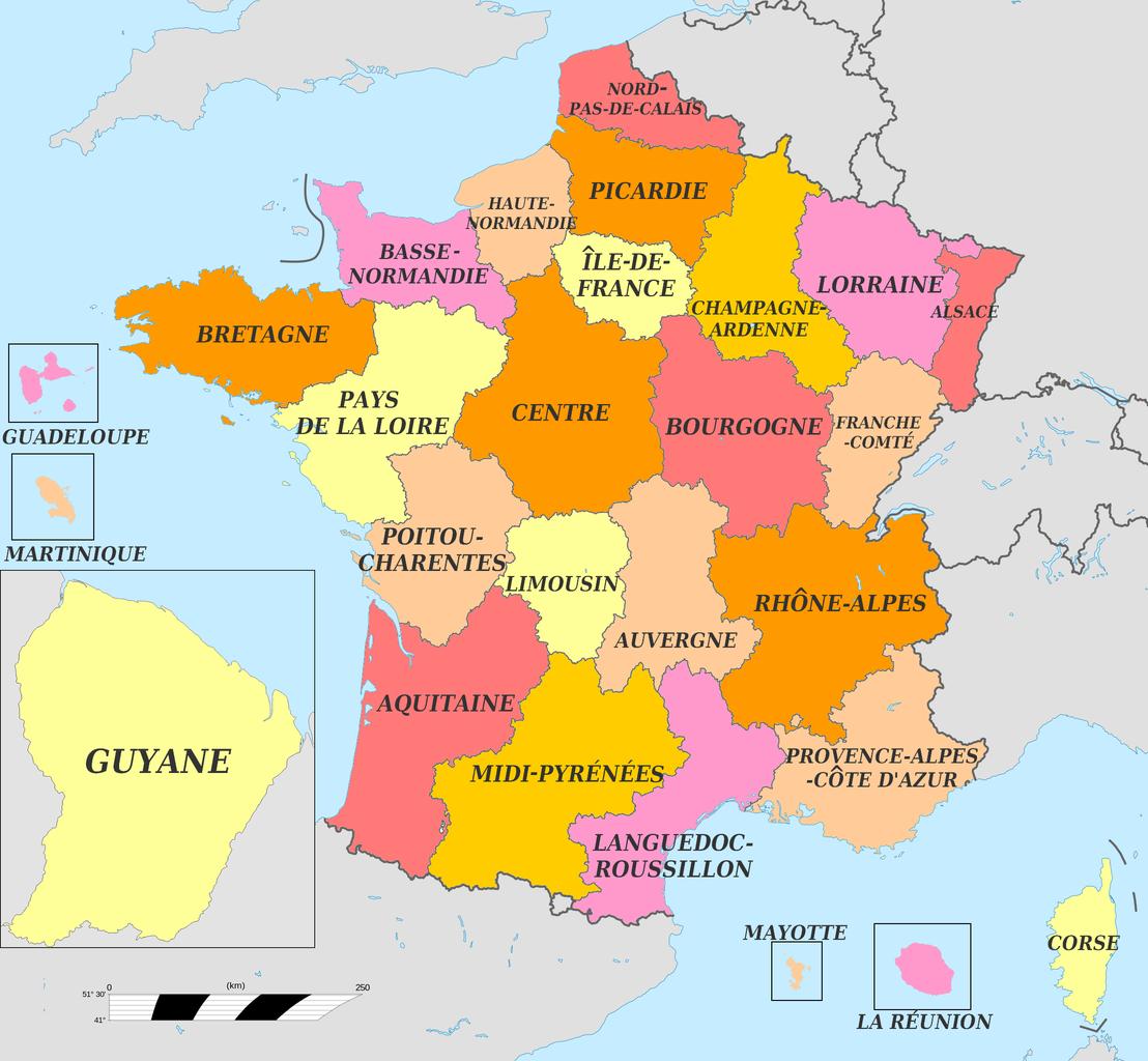 carte defrance des regions