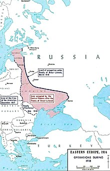 Map of Eastern Europe. A bold line shows the new border of Soviet Russia. The coloured portion indicates the area occupied by the Central Powers.