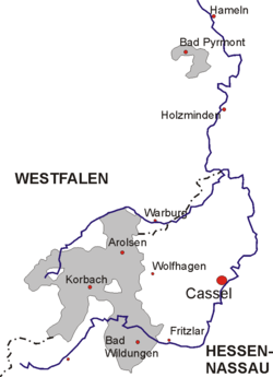 Map of Waldeck, showing the border between Westphalia and Hesse-Nassau