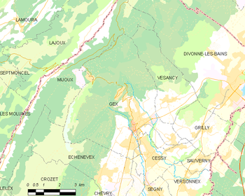Map of the commune de Gex