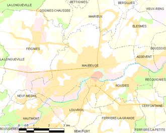 Siege of Maubeuge - Image: Map commune FR insee code 59392