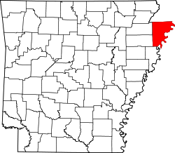 map of Arkansas highlighting Mississippi County