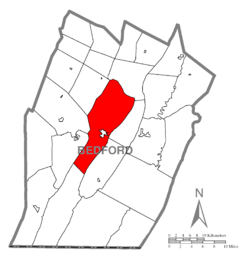 Map of Bedford County, Pennsylvania highlighting Bedford Township
