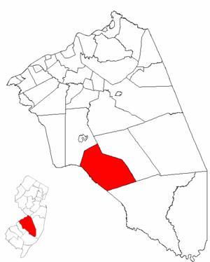 Shamong Township, New Jersey - Image: Map of Burlington County highlighting Shamong Township