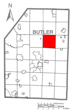 Map of Butler County, Pennsylvania highlighting Concord Township