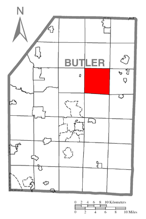 Concord Township, Butler County, Pennsylvania - Image: Map of Concord Township, Butler County, Pennsylvania Highlighted