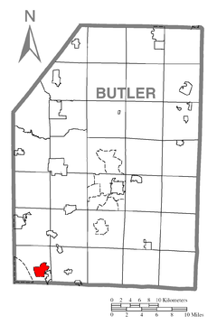 Map of Fox Run, Butler County, Pennsylvania Highlighted.png