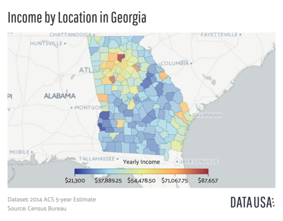 Map of Georgia's counties depicting the median income as of 2014. Map of Georgia Median Income by County.png
