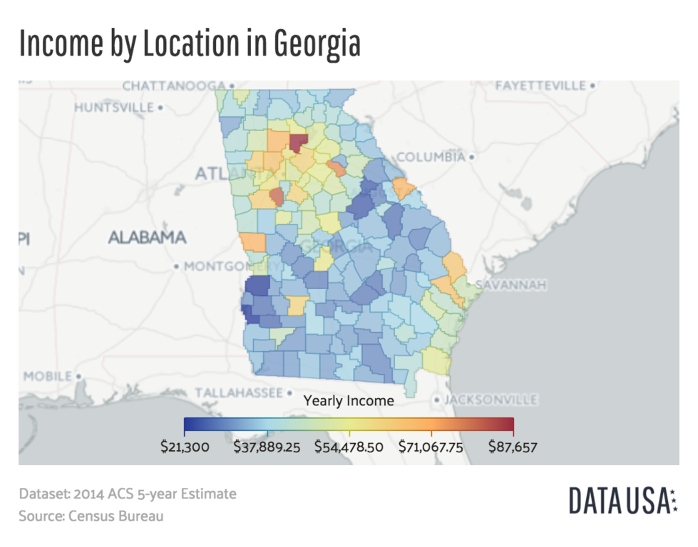 State Of Georgia County Map.File Map Of Georgia Median Income By County Png Wikimedia Commons
