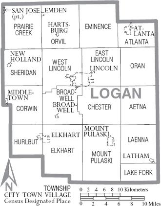 Logan County, Illinois - Map of Logan County, Illinois