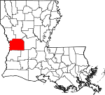 State map highlighting Vernon Parish