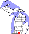State map highlighting Branch County