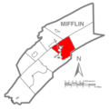 Map of Mifflin County Pennsylvania Highlighting Derry Township.PNG