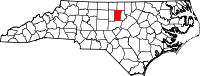 Map of North Carolina highlighting Orange County