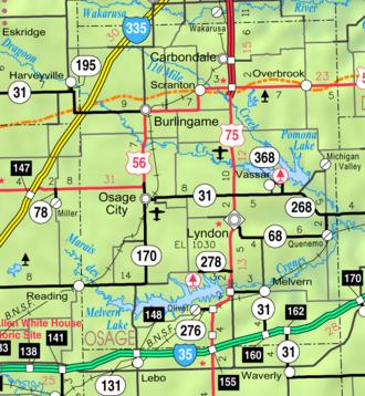 Osage County, Kansas - Image: Map of Osage Co, Ks, USA
