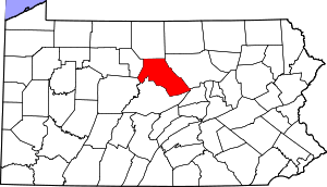 Map of Pennsylvania highlighting Clinton County