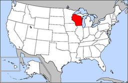 Kort over USA med Wisconsin markeret