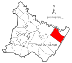 Map of Westmoreland County, Pennsylvania Highlighting Fairfield Township
