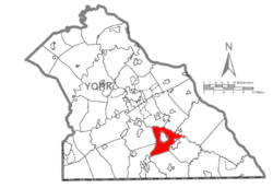 Map of York County, Pennsylvania highlighting North Hopewell Township