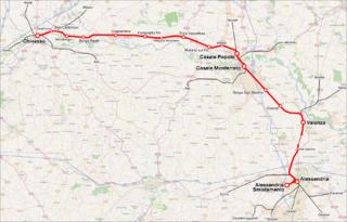 Chivasso–Alessandria railway Railway line in Piedmont, Italy