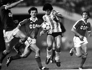 Soviet Union national football team - The Soviet Union u-20 team playing the Argentine side at the 1979 FIFA World Youth Championship.