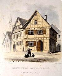 Casa natal de Schiller en Marbach. Pintura de Eberhard Emminger de 1850