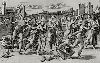 Marcantonio Raimondi - The Massacre of the Innocents, designed by Raphael to be engraved.