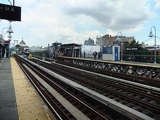 Marcy Avenue (BMT Jamaica Line) - View from the eastbound platform, looking west