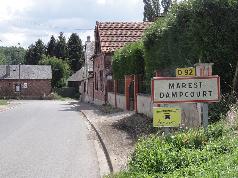 Marest-Dampcourt (Aisne) city limit sign Marest-Dampcourt atDampcourt