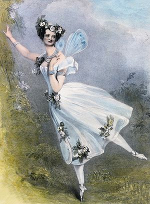 Marie Taglioni - Lithograph by Chalon and Lane of Marie Taglioni as Flora in Didelot's Zéphire et Flore. London, 1831 (Victoria and Albert Museum/Sergeyev Collection)