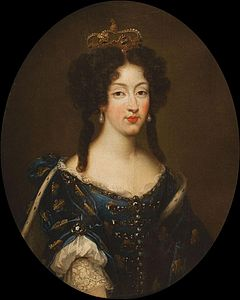 Marie Louise d'Orléans by Mignard wearing the Fleur-de-lis (showing her dignity as a Grand daughter of France) and the Spanish crown.jpg