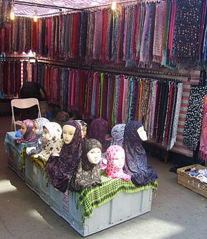 Islamic dress in Europe - Headscarves for sale at Whitechapel market in London, E1