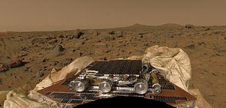 Sojourner (rover) - Sojourner rover on Mars, as stowed on one of the station petals