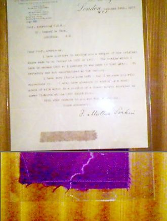 Mauveine - Letter from Perkin's son, with a sample of dyed silk