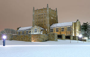 January 2007 North American Ice Storm - The University of Tulsa campus on the night of January 14