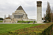 The design of the Shrine of Remembrance in Melbourne was inspired by that of the Mausoleum