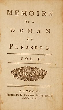 Memoirs of a Woman of Pleasure Fanny Hill 1749 edition title page.jpg