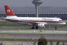 Un Airbus A319 di Meridiana Fly