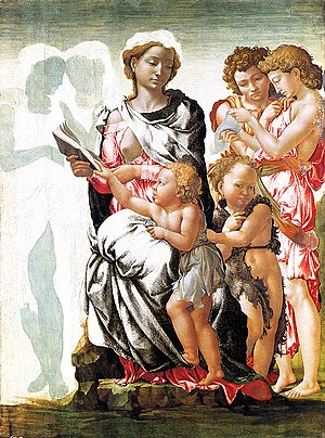 Art Treasures Exhibition, Manchester 1857 - Michelangelo's The Virgin and Child with Saint John and Angels, also known as the Manchester Madonna, c. 1497