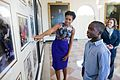 Michelle Obama shows James Gale, 11, historical photos from previous administrations, 2012.jpg